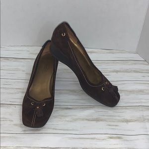 Size 9 Talbots Brown Suede Wedge Heel Loafers